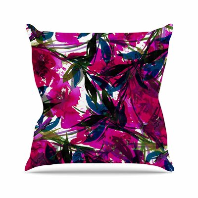 Ebi Emporium Floral Fiesta Floral Painting Outdoor Throw Pillow Size: 18 H x 18 W x 5 D, Color: Teal