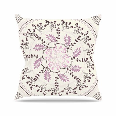 Famenxt Pinkish Madellion Abstract Outdoor Throw Pillow Size: 18 H x 18 W x 5 D, Color: Beige