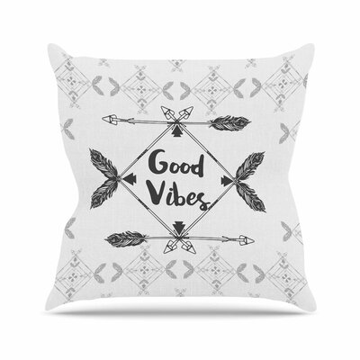 Famenxt Boho Good Vibes Outdoor Throw Pillow Size: 16 H x 16 W x 5 D