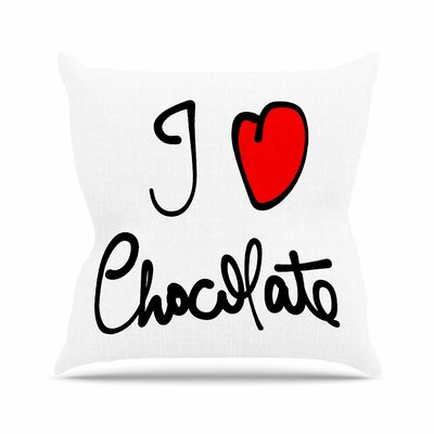 Gabriela Fuente I Love Chocolate Food Typography Outdoor Throw Pillow Size: 16 H x 16 W x 5 D
