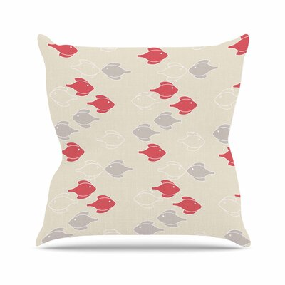 Gukuuki Mayan Fish Magenta Outdoor Throw Pillow Size: 16 H x 16 W x 5 D