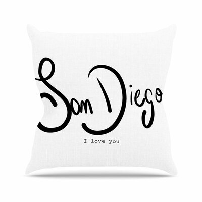 Gabriela Fuente San Diego I Love You Travel Typography Outdoor Throw Pillow Size: 16 H x 16 W x 5 D