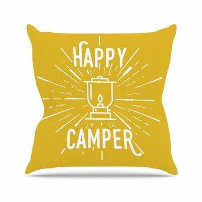 Jackie Rose Happy Camper Typography Outdoor Throw Pillow Size: 16 H x 16 W x 5 D