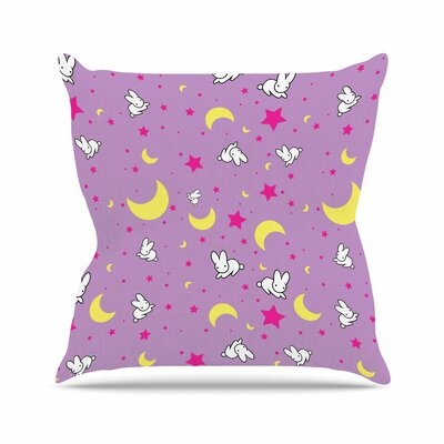 Jackie Rose Goodnight Usagi Lavender Magenta Outdoor Throw Pillow Size: 18 H x 18 W x 5 D