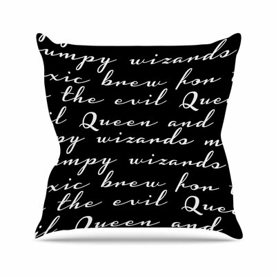 Jackie Rose Grumpy Wizards Typography Outdoor Throw Pillow Size: 16 H x 16 W x 5 D