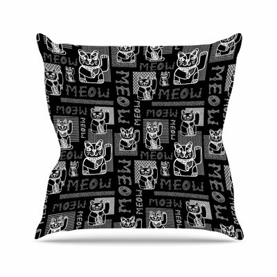 Jane Smith Meow Repeat Outdoor Throw Pillow Size: 16 H x 16 W x 5 D