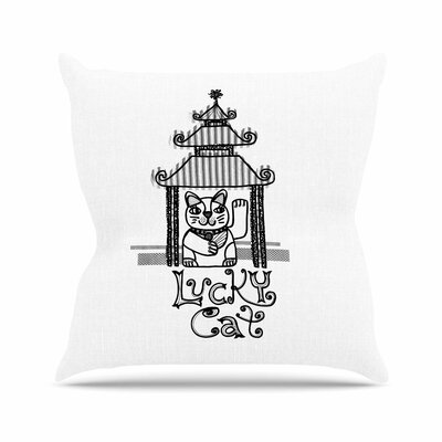 Jane Smith Lucky Cat Outdoor Throw Pillow Size: 16 H x 16 W x 5 D