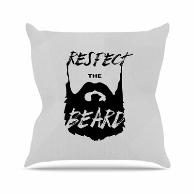 Juan Paulo Respect the Beard Typography Beard Outdoor Throw Pillow Size: 18 H x 18 W x 5 D