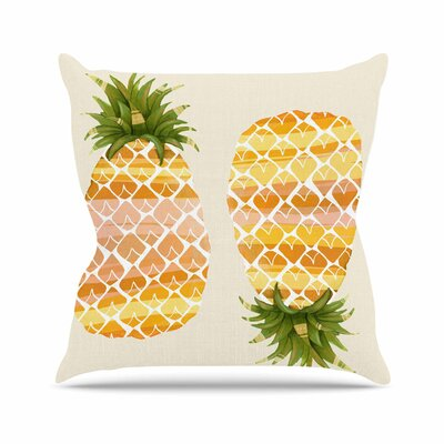 Judith Loske Happy Pineapples Outdoor Throw Pillow Size: 16 H x 16 W x 5 D
