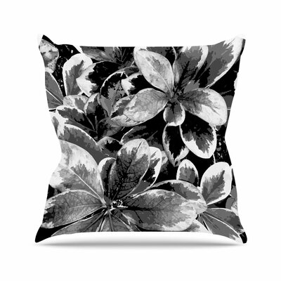 Julia Grifol Leaves Floral Outdoor Throw Pillow Size: 18 H x 18 W x 5 D, Color: Gray