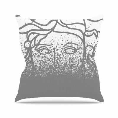 Just L Versus Spray Digital Outdoor Throw Pillow Color: Gray, Size: 18 H x 18 W x 5 D