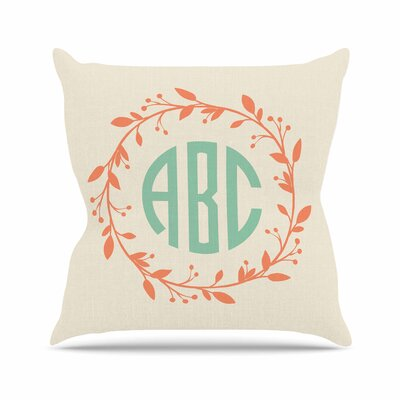 Classic Cream Wreath Monogram Typography Outdoor Throw Pillow Size: 16 H x 16 W x 5 D, Color: Cream