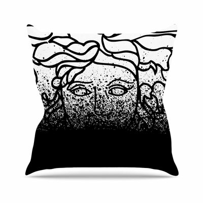 Just L Versus Spray Digital Outdoor Throw Pillow Color: Black, Size: 18 H x 18 W x 5 D