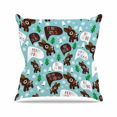Cheerful Reindeer Outdoor Throw Pillow Size: 18 H x 18 W x 5 D