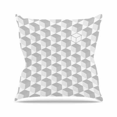 Greyscale Cubed Geometric Outdoor Throw Pillow Size: 16 H x 16 W x 5 D