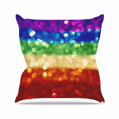Kristi Jackson Rainbow Bokeh Digital Outdoor Throw Pillow Size: 16 H x 16 W x 5 D