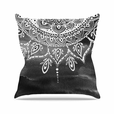 Li Zamperini Mandala Abstract Outdoor Throw Pillow Size: 18 H x 18 W x 5 D, Color: Black