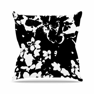Love Midge Helena Floral Modern Outdoor Throw Pillow Size: 18 H x 18 W x 5 D, Color: Black/White