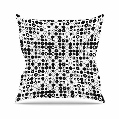 Nandita Singh Funny Polka Dots Abstract Outdoor Throw Pillow Color: White, Size: 18 H x 18 W x 5 D