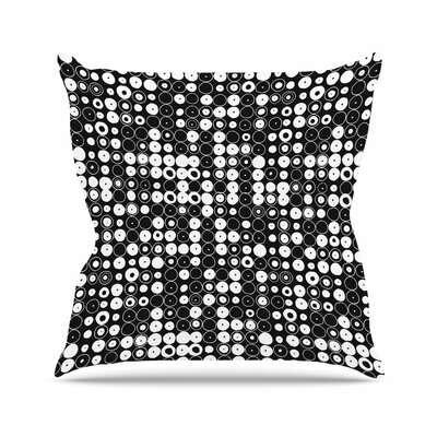 Nandita Singh Funny Polka Dots Abstract Outdoor Throw Pillow Color: Black, Size: 16