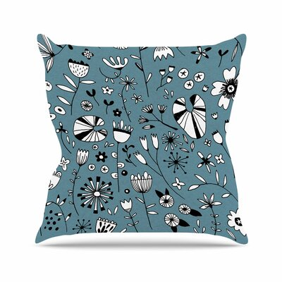 Nic Squirrell Etched Flowers Outdoor Throw Pillow Size: 18 H x 18 W x 5 D