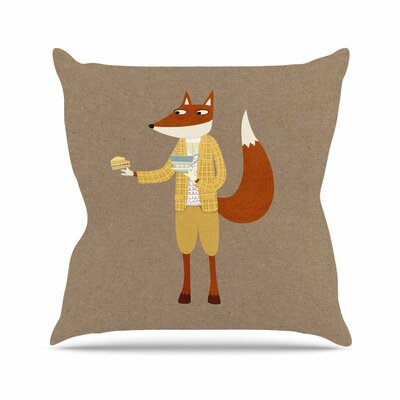Nic Squirrell Mr Fox Takes Tea Animals Outdoor Throw Pillow Size: 16 H x 16 W x 5 D