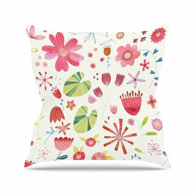 Nic Squirrell Pressed Wildflowers Outdoor Throw Pillow Size: 16 H x 16 W x 5 D