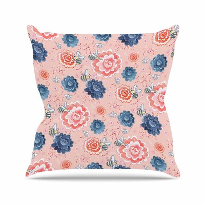 Nic Squirrell Bees Please Floral Outdoor Throw Pillow Size: 16 H x 16 W x 5 D