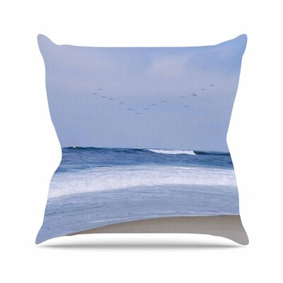 Nick Nareshni Seagulls on the Beach Outdoor Throw Pillow Size: 16 H x 16 W x 5 D
