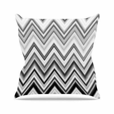 Nika Martinez Seventies Chevron Outdoor Throw Pillow Size: 16 H x 16 W x 5 D, Color: Black/White
