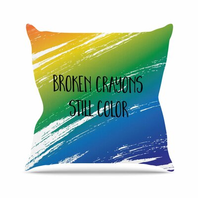 NL designs Broken Crayons Abstract Outdoor Throw Pillow Size: 16 H x 16 W x 5 D