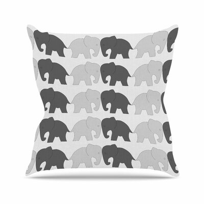 NL Designs Elephants on Parade Animals Outdoor Throw Pillow Color: Gray, Size: 18 H x 18 W x 5 D
