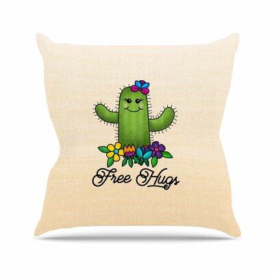 Noonday Design Free Hugs Cactus Outdoor Throw Pillow Size: 18 H x 18 W x 5 D