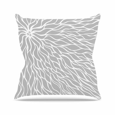NL Designs Swirls Wave Pattern Outdoor Throw Pillow Size: 16 H x 16 W x 5 D, Color: Gray