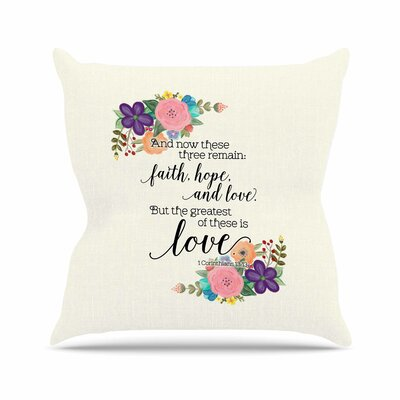 Noonday Design Faith, Hope, and Love Outdoor Throw Pillow Size: 16 H x 16 W x 5 D