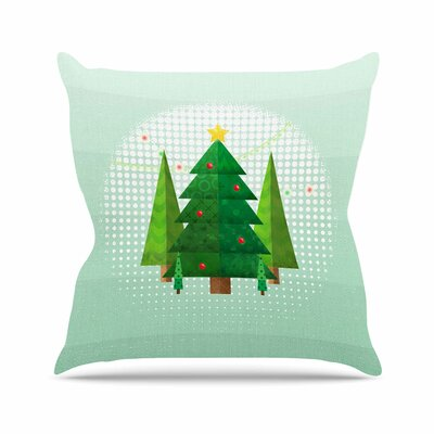 Noonday Design Geometric Christmas Tree Outdoor Throw Pillow Size: 18 H x 18 W x 5 D