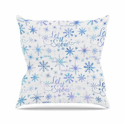 Noonday Design Let It Snow Winter Pattern Outdoor Throw Pillow Size: 16 H x 16 W x 5 D