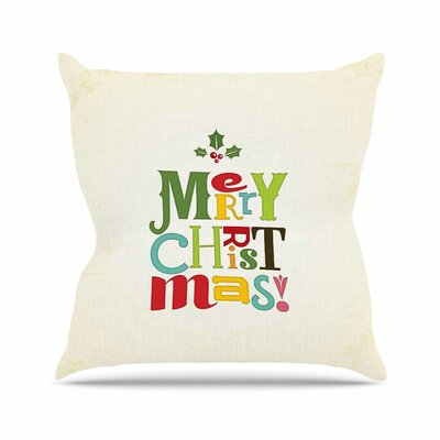 Noonday Design Merry Christmas Outdoor Throw Pillow Size: 18 H x 18 W x 5 D