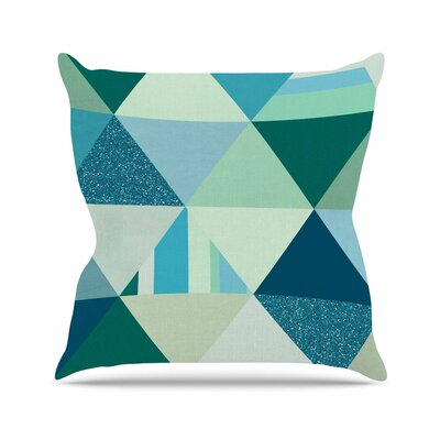 Noonday Design the Triangle Blues Geometric Outdoor Throw Pillow Size: 18
