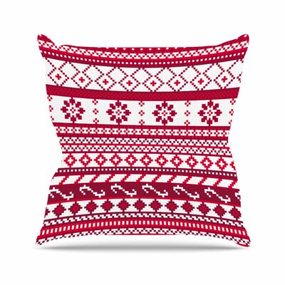 Noonday Design Fairisle Christmas Pattern Outdoor Throw Pillow Size: 18
