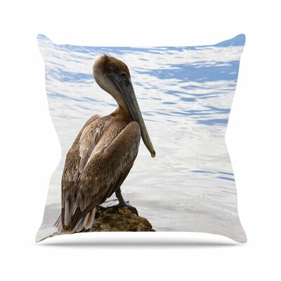 Philip Brown Pelican Waiting Photography Outdoor Throw Pillow Size: 16 H x 16 W x 5 D