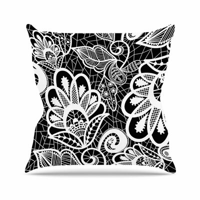 Petit Griffin Floral Lace BW Abstract Modern Outdoor Throw Pillow Size: 18 H x 18 W x 5 D