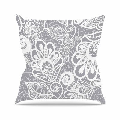 Petit Griffin Lace Flower Outdoor Throw Pillow Size: 18 H x 18 W x 5 D