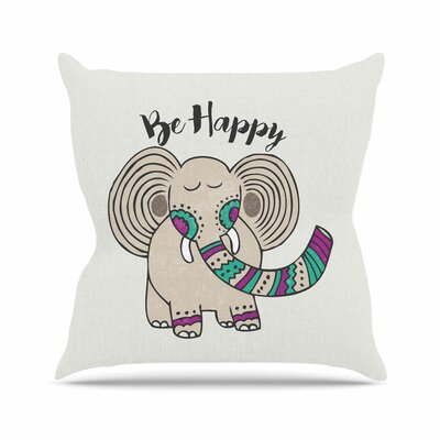 Pom Graphic Design Be Happy Typography Outdoor Throw Pillow Size: 16 H x 16 W x 5 D