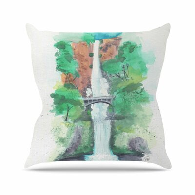 Rebecca Bender Multnomah Falls Watercolor Painting Outdoor Throw Pillow Size: 16 H x 16 W x 5 D