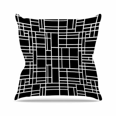 Project M Map Outline Simple Geometric Outdoor Throw Pillow Size: 18 H x 18 W x 5 D, Color: Black/White