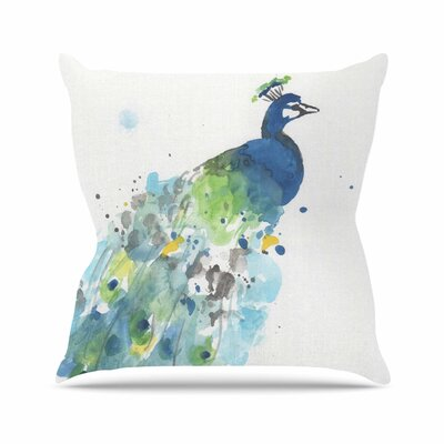 Rebecca Bender Abstract Watercolor Peacock Outdoor Throw Pillow Size: 16 H x 16 W x 5 D