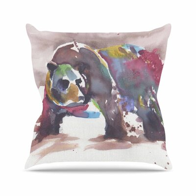 Rebecca Bender Grizzly Bear Watercolor Abstract Animal Outdoor Throw Pillow Size: 18 H x 18 W x 5 D