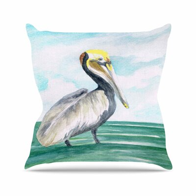Rosie Brown Pelican Coastal Watercolor Outdoor Throw Pillow Size: 16 H x 16 W x 5 D