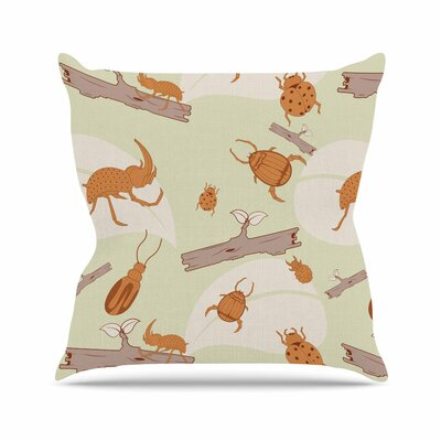 Stephanie Vaeth Beetles Nature Outdoor Throw Pillow Size: 18 H x 18 W x 5 D